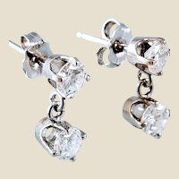 Estate 14K 0.92 ctw Diamond Stud Earrings