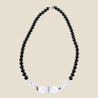 Carved Crystal Quartz Vajra Pendant with Black Agate Beads Necklace