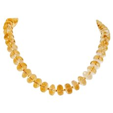 14K Faceted Citrine Beaded Necklace
