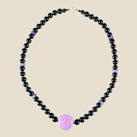 14K Carved Phosphosiderite Bead Pendant with Amethyst Black Agate Beads Necklace