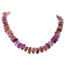 14K Faceted Ametrine Beaded Necklace