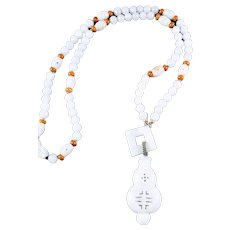 Carved Jadeite Wulu Pendant and Beads Necklace
