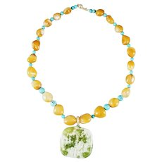 14K Carved Serpentine Pendant with Turquoise and Agates Beads Necklace