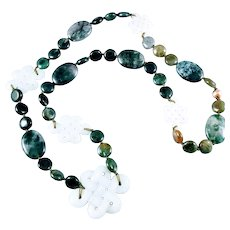 Moss Agate  and Carved Jadeite Beaded Necklace