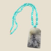 14K Carved Serpentine Pendant with Amazonite and Carved Turquoise Beads Necklace