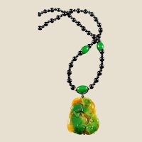 Carved Jadeite Pendant with Jadeite and Black Agate Beads Necklace