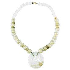 14K Carved Jadeite Pendant and Sagenitic Quartz Beads Necklace