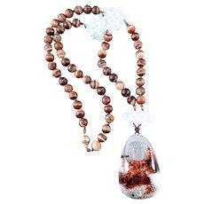 14K Carved Lodolite Quartz Buddha Pendant and Agate, Jadeite Beads Necklace