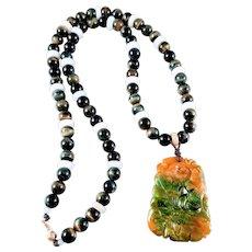 14K Carved Jadeite Pendant and Tigers Eye, Jadiete Beads Necklace