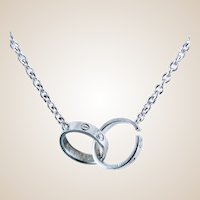 Rare Vintage, Discontinued Cartier 18K White Gold Love Necklace