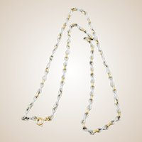 """Made in Italy - Vintage White and Yellow Gold Figure """"8"""" Chain Necklace, 24"""""""