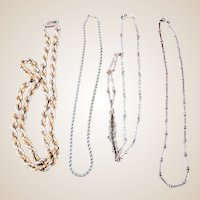 Made in Italy - Vintage Sterling Silver Chain Necklaces - 4 Chain Set