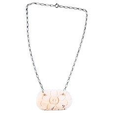 Art Nouveau Sterling Silver and Bone Pendant Necklace