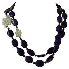 Carved Jadeite and Lapis Lazuli Bead Necklace
