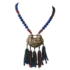 Vintage Chinese Silver Longevity Lock Pendant with Ruby, Sapphire, Lapis and Tourmaline Beads Necklace