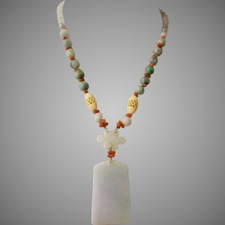 Jadeite Pendant with Natural Salmon Coral, Jadeite and Bone Beads Necklace