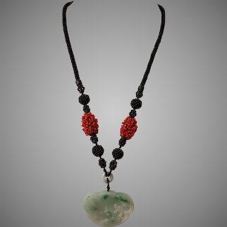 Carved Jadeite Pendant with Sardinian Coral,  Agate and Sterling Silver Necklace