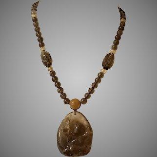 Carved Rutilated Smokey Quartz Pendant with Smokey and Rutilated Quartz Beads Necklace
