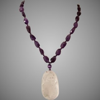 Carved Crystal Quartz Pendant with Amethyst Beads Necklace