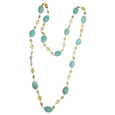 Sterling Silver Chalcedony, Citrine, Peridot Beaded Necklace