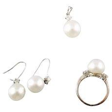 Vintage 14K, 18K South Sea Pearl and Diamonds Ring, Pendant, Earrings Set