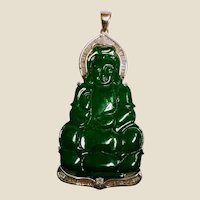 Rare Vintage Carved Guanyin Imperial Jade Set in 18K White Gold and Diamonds