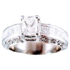 Platinum 1.9 CTW  Diamond Engagement Ring, Sz 4.5