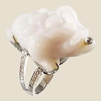 18K Carved White Chalcedony Three Legged Money Frog Ring with Diamonds, Sz 6.25