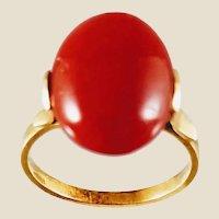 Rare Vintage 18K Oxblood Coral Cabochon Ring, Sz 6.75