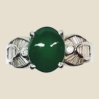 Rare Vintage Imperial Jade Cabachon Set in 18K White Gold and Diamonds, Sz 5.25