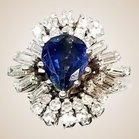 Vintage 3 Cttw Diamond Sapphire 18K Gold Cluster Ring