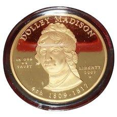 2007-W 1/2 oz Proof Gold Dolley Madison  (w/Box & COA)