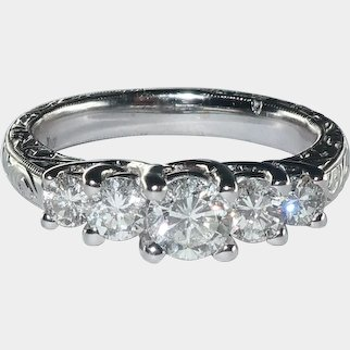 Art-Deco Style 5 Diamonds 18 Karat White Gold Engagement Ring. 1.00cttw