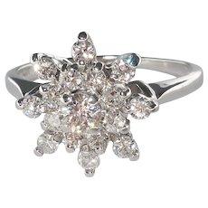 Diamond Ring, 1.00cttw, Starburst Design,  Engagement Ring in 14k White Gold.