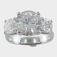 4.71cttw Classic    Past, Present and Future Style 3 Diamonds  Engagement / Anniversary Ring.