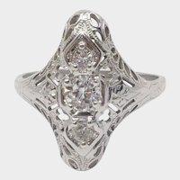 Antique 0.33cttw Diamond Ring in 18karat White Gold