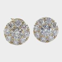 Halo Design Round Brilliant Cut Diamonds Stud Earrings. 1.00cttw