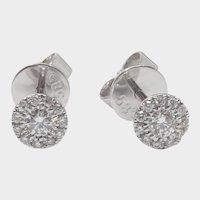 Halo Design Round Brilliant Cut Diamond Stud Earrings. 1/4cttw