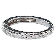 Art-Deco Style hand engraved prong set  diamond anniversary / wedding band