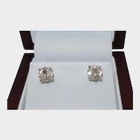 14Karat White Gold 2.03cttw Diamond Stud Earrings with Post back