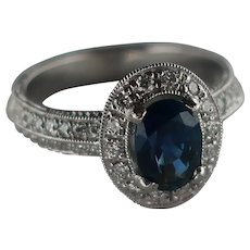 Art-Deco Style Platinum Sapphire  Diamond Engagement Ring