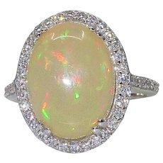 Ethiopian Solid  OPAL and Diamond Ring 14x10mm