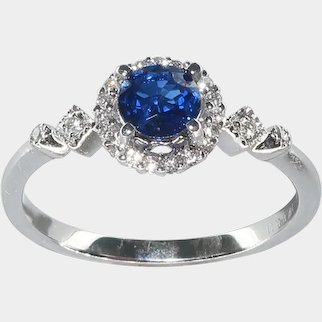 Art Deco Style  Sapphire & Diamond Engagement Ring  (1/2cttw) in 14 Karat White Gold