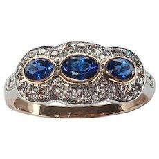 Edwardian 18 karat sapphire and diamond ring  1.00