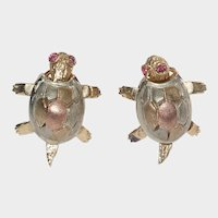 Women's 14k Tricolor Gold Turtle Earrings With Omega Back