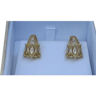 Fashion Earrings 14Karat gold with single cut Diamonds .