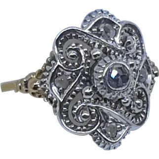 Victorian 18 Karat Silver and Rose Cut Diamond ring