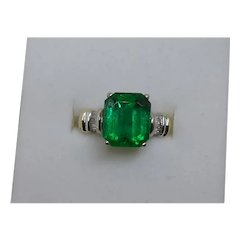 4 carat Colombian Emerald and Diamond Ring .