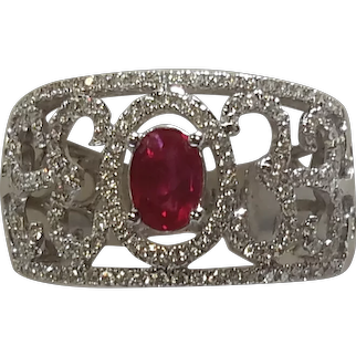 Ruby and Diamond 18 K white gold Ring