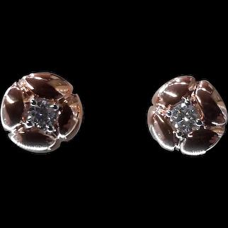 18 Karat Pink Gold  and Diamond Hand made earrings